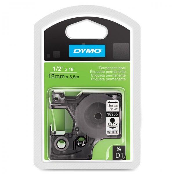"""Dymo 16955 Black on White - 1/2"""" Tape"""