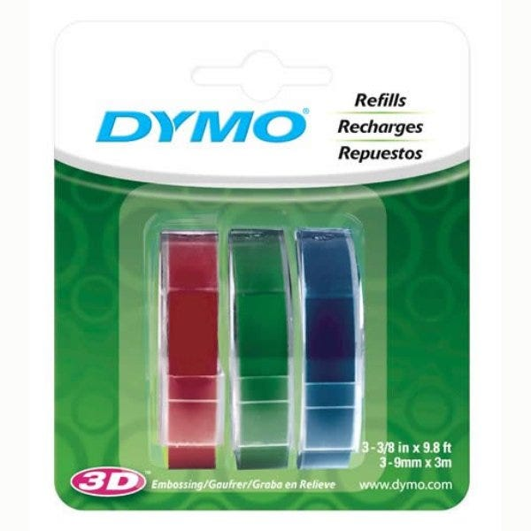"""3/8"""" Red, Green and Blue Glossy Embossing Tapes"""