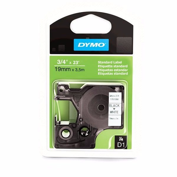 """Dymo 1761260 Black on White - 3/4"""" Tape"""