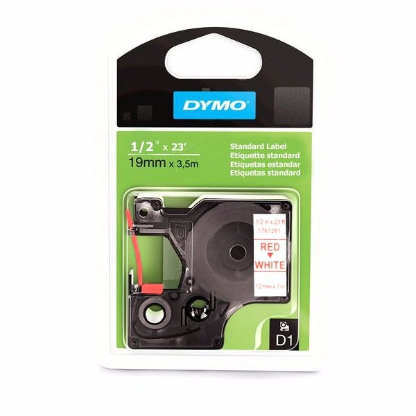 """Dymo 1761281 Red on White - 1/2"""" Tape"""