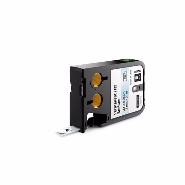 """Dymo XTL 1868740 Black on Clear 1/2"""" Flat Surface Labels"""