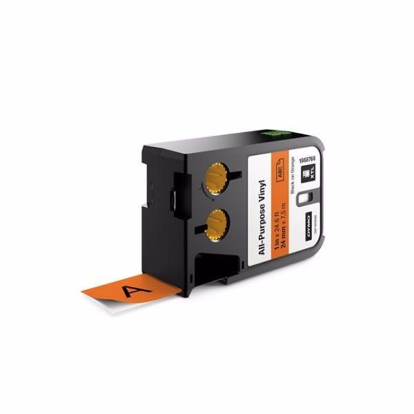 "Dymo XTL 1868768 Black on Orange 1"" (24mm) All-Purpose Vinyl Labels"