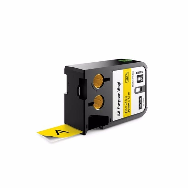 "Dymo XTL 1868773 Black on Yellow 1"" (24mm) All-Purpose Vinyl Labels"