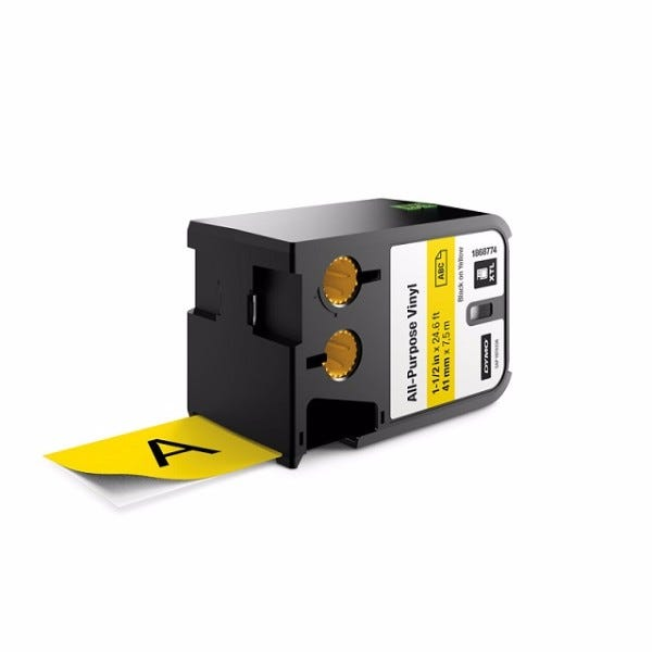 "Dymo XTL 1868774 Black on Yellow 1-1/2"" (41mm) All-Purpose Vinyl Labels"