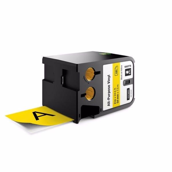 "Dymo XTL 1868775 Black on Yellow 2"" (54mm) All-Purpose Vinyl Labels"