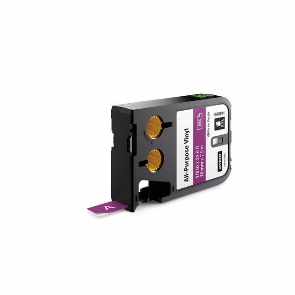 "Dymo XTL 1868791 White on Purple 1/2"" (12mm) All-Purpose Vinyl Labels"