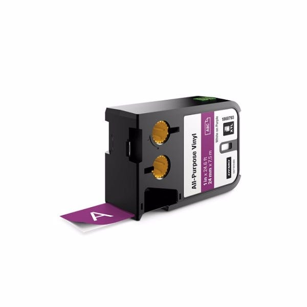 "Dymo XTL 1868793 White on Purple 1"" (24mm) All-Purpose Vinyl Labels"