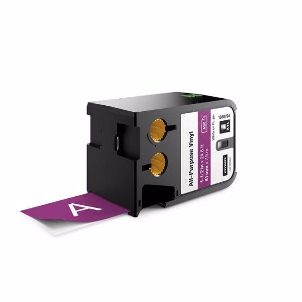 "Dymo XTL 1868794 White on Purple 1-1/2"" (54mm) All-Purpose Vinyl Labels"