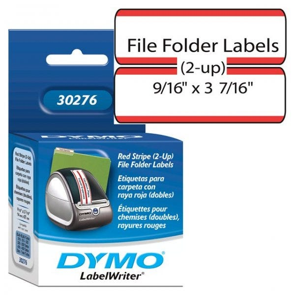 Dymo 30276 File Folder Labels w/Red Stripe - 2-up