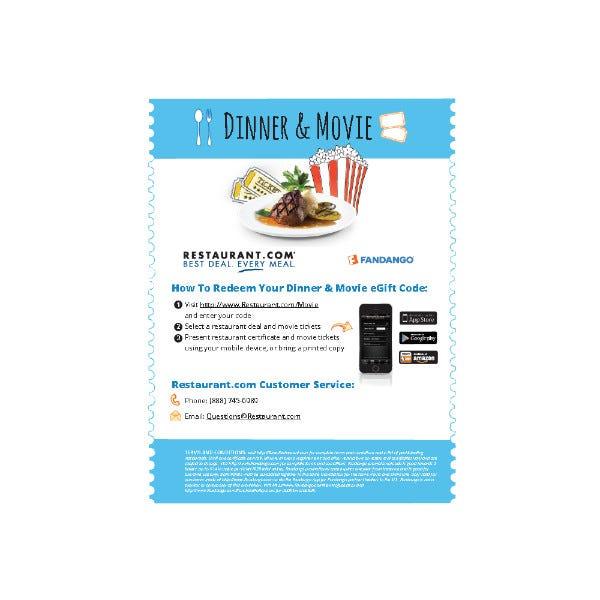 $50 Dinner and Movie eGift Card