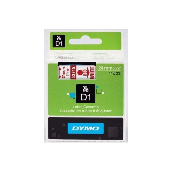 """Dymo 53715 Red on White - 1"""" Tape"""