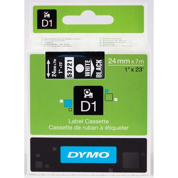 """Dymo 53721 White on Black - 1"""" Tape"""