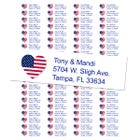 USA Heart Shape Flag Return Address Labels