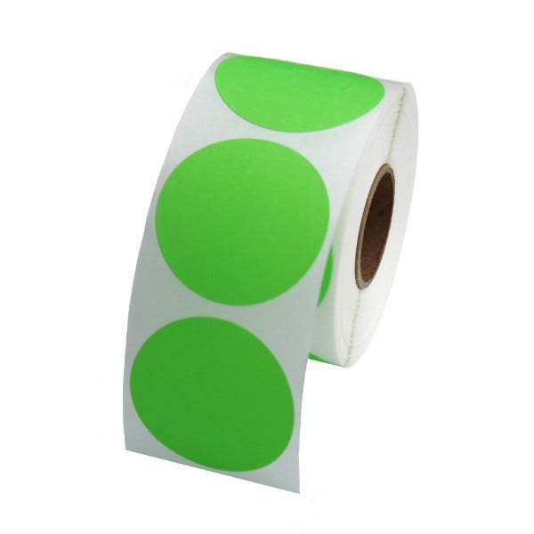 "1.5"" Round Labels - Fluorescent Green"