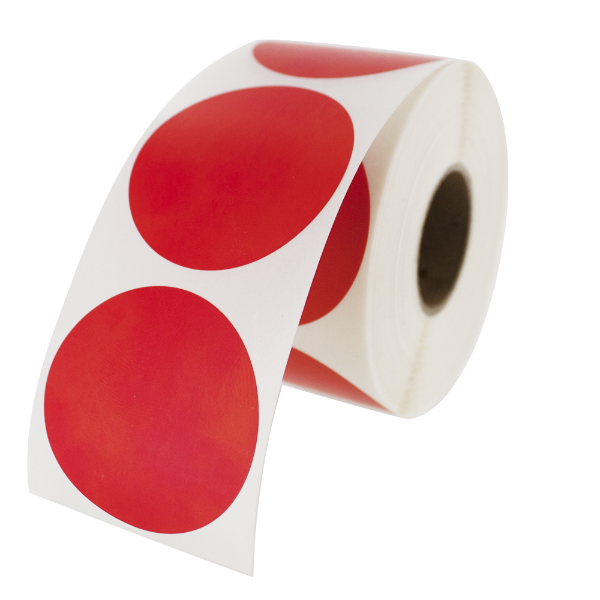 "1.5"" Round Labels - Red"