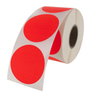 "1.5"" Round Labels - Fluorescent Red"