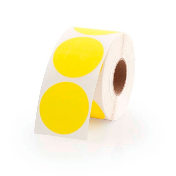 "1.5"" Round Labels - Fluorescent Yellow"