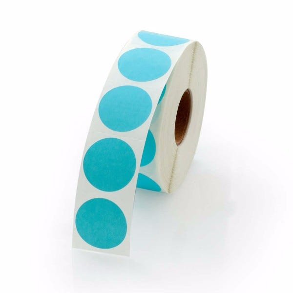 "1"" Round Labels - Light Blue"