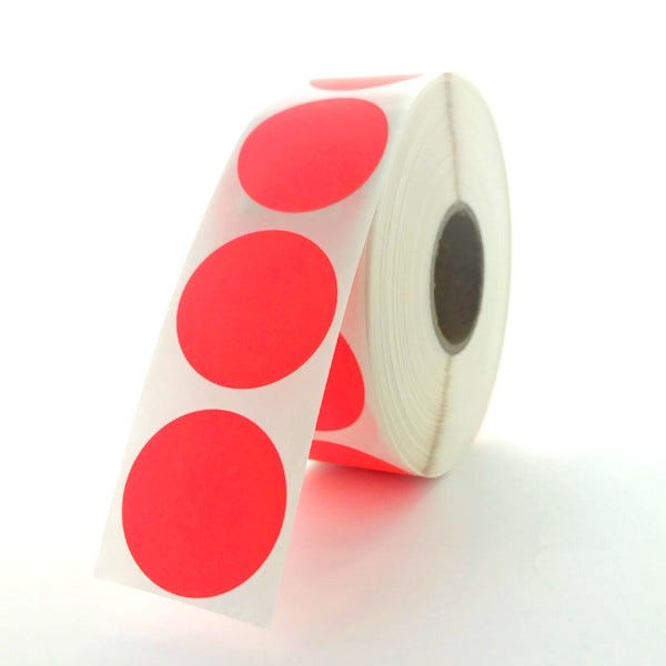 """1"""" Round Labels - Fluorescent Red"""