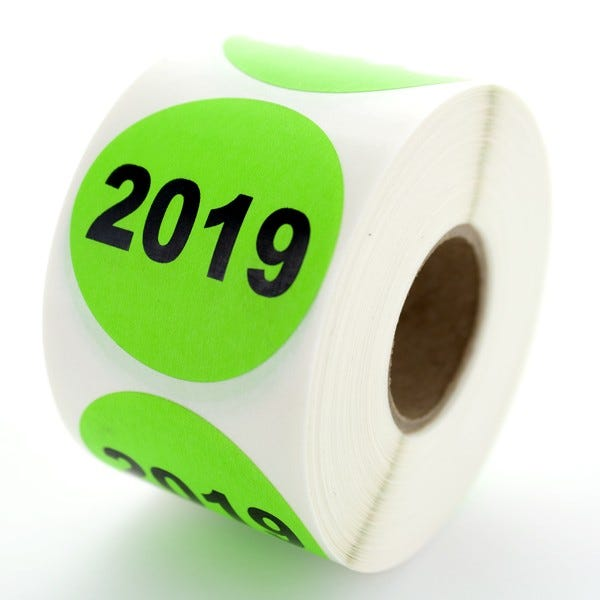 "Year 2019 Labels 1.5"" Circles"