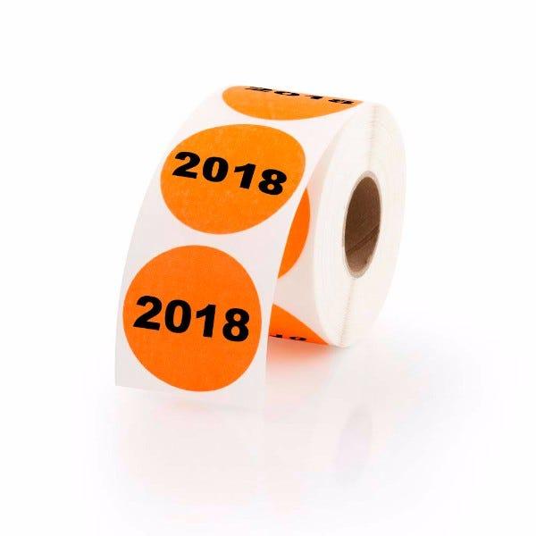 """Year 2018 Labels 1.5"""" Circles"""