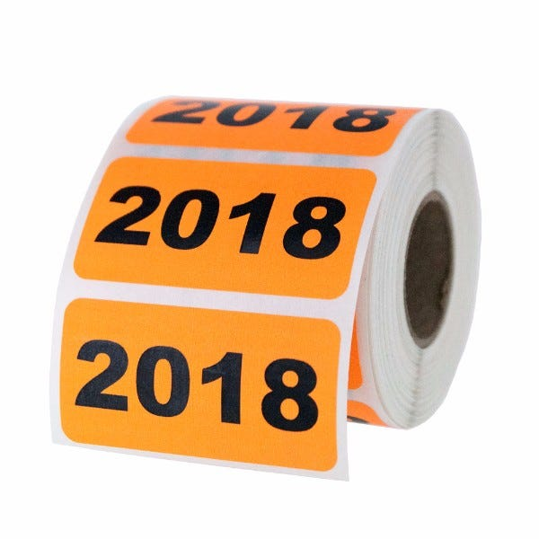 """Year 2018 Labels 2"""" x 1"""""""