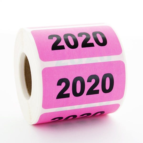 """Year 2020 Labels 2"""" x 1"""""""