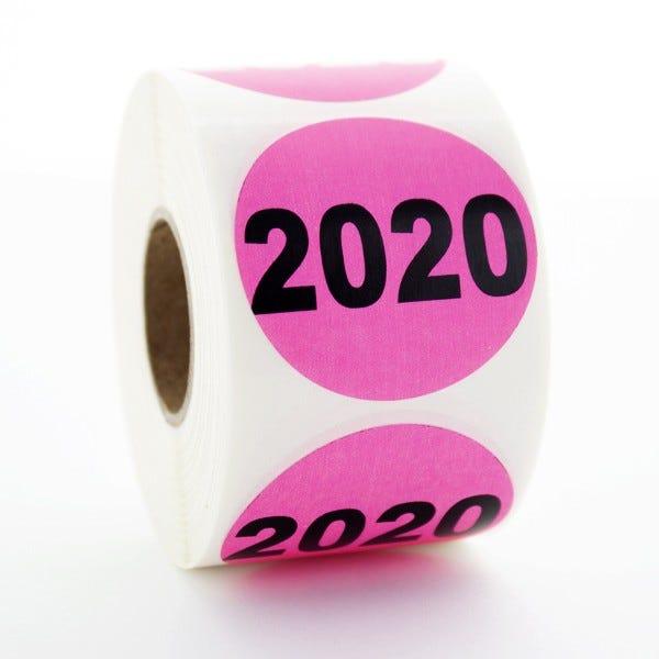 """Year 2020 Labels 1.5"""" Circles"""