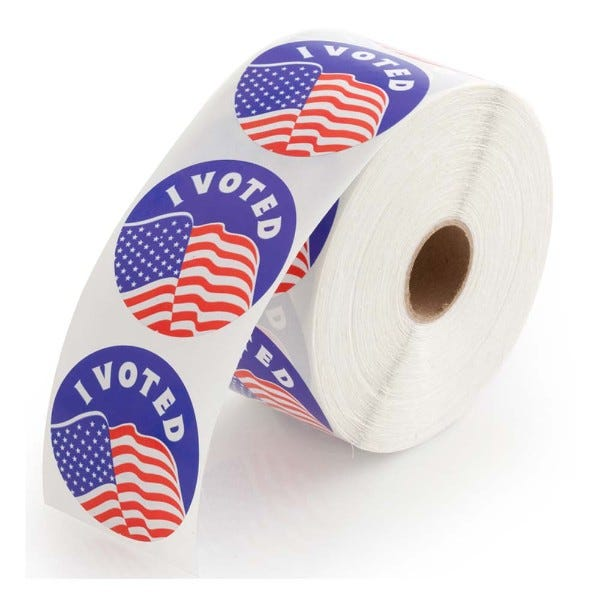 I Voted Stickers - 1000 Labels Per Roll