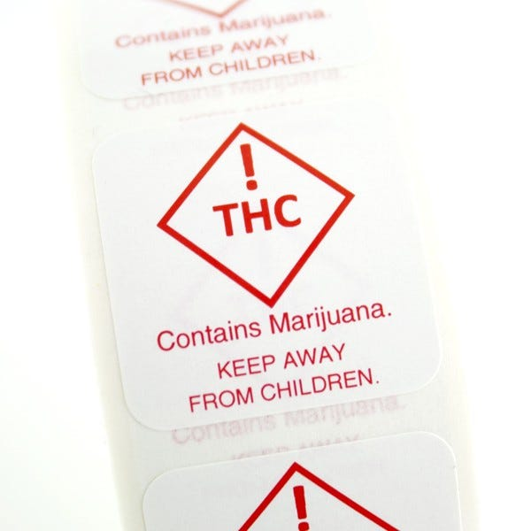 Colorado THC Recreational Marijuana Warning Labels - Keep Away From Children