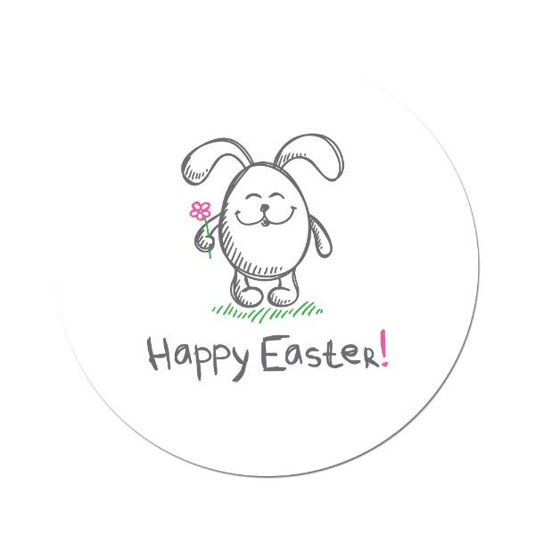 Happy Easter Bunny Label 1.5""