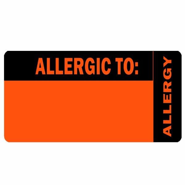 """Allergic To"" Orange Allergy Labels"