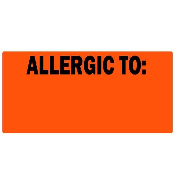 """Allergic To"" Fluorescent Orange Writable Allergy Labels"