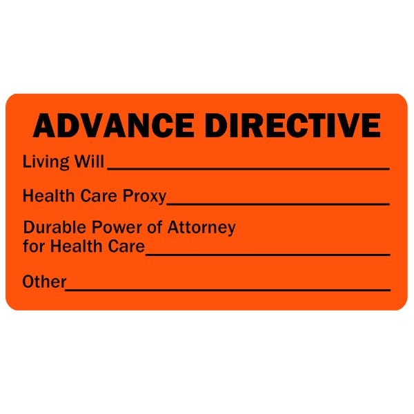 Advance Directive Medical Healthcare Labels