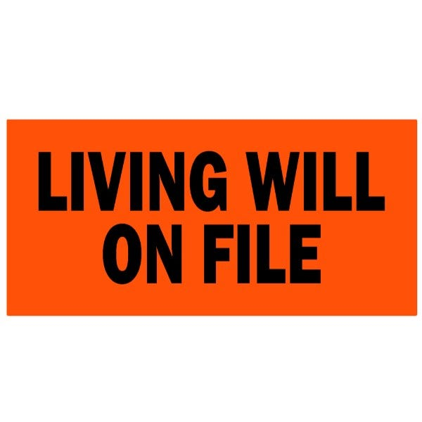 Living Will on File Medical Healthcare Labels