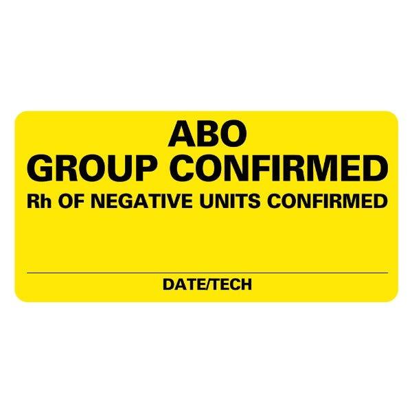 ABO GROUP CONFIRMED Medical Labels
