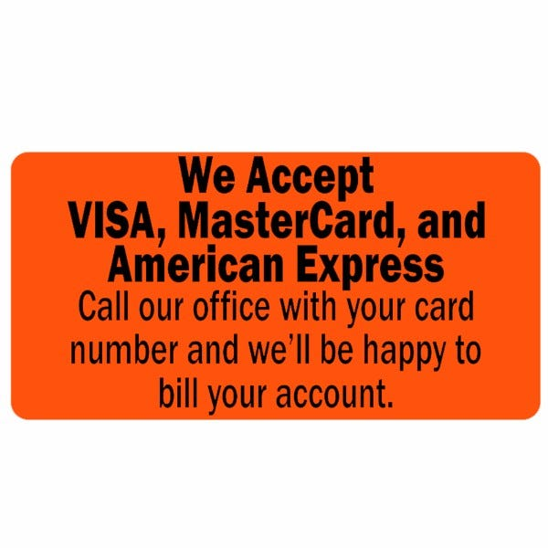 We Accept Visa, MasterCard, and American Express Labels
