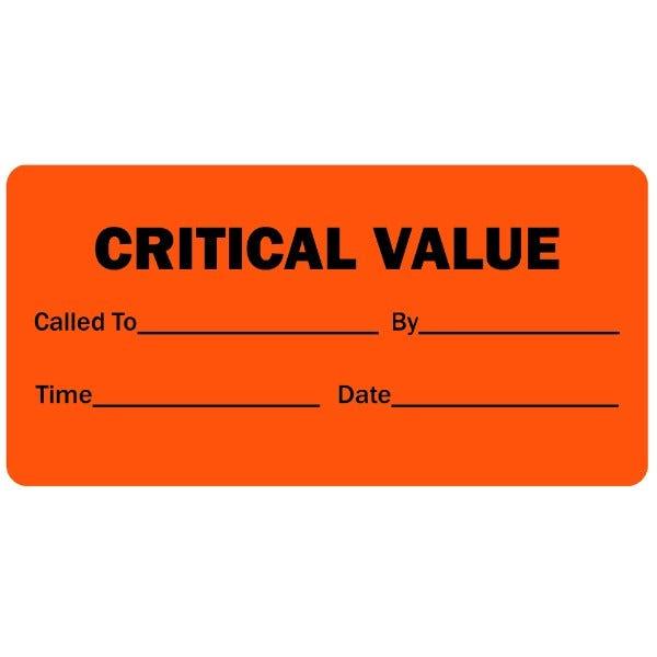 Critical Value Medical Labels