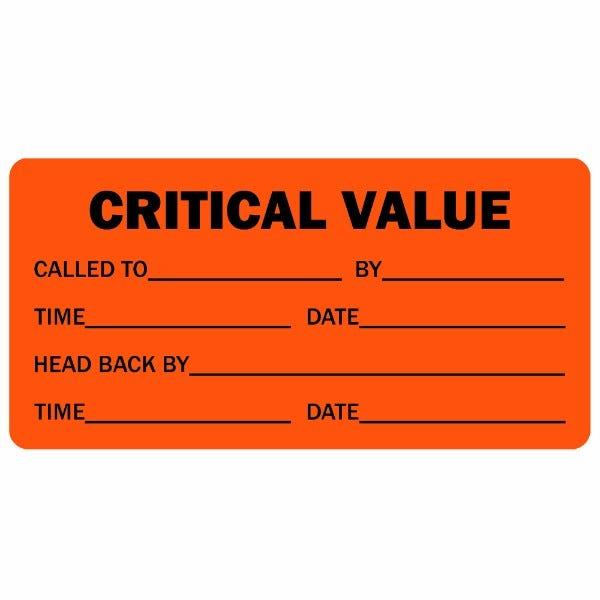Critical Value Detailed Medical Labels