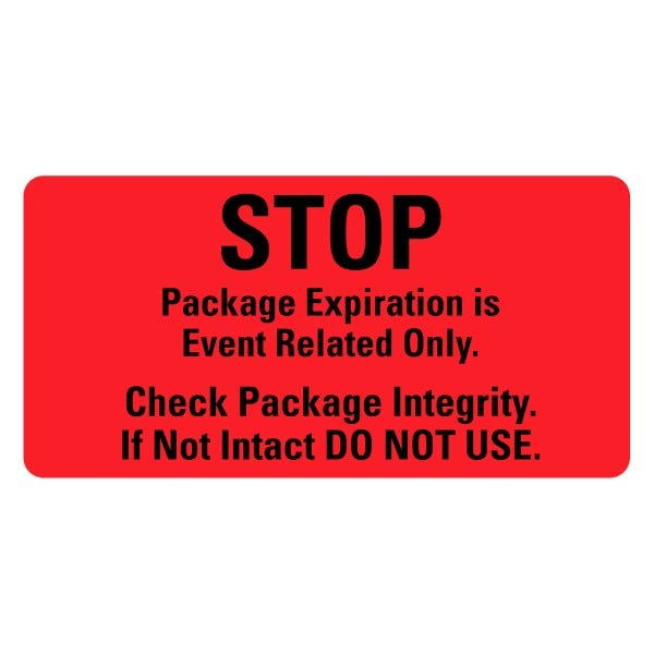 STOP Package Expiration Medical Labels