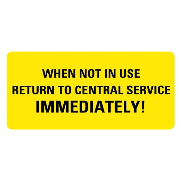 Return To Central Service Medical Labels