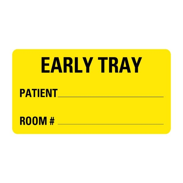 Early Tray Patient Room Food Service Medical Labels