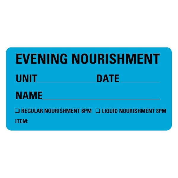 Evening Nourishment Food Service Medical Labels