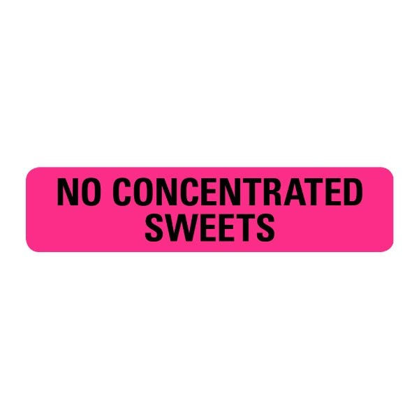 No Concentrated Sweets Food Service Medical Labels