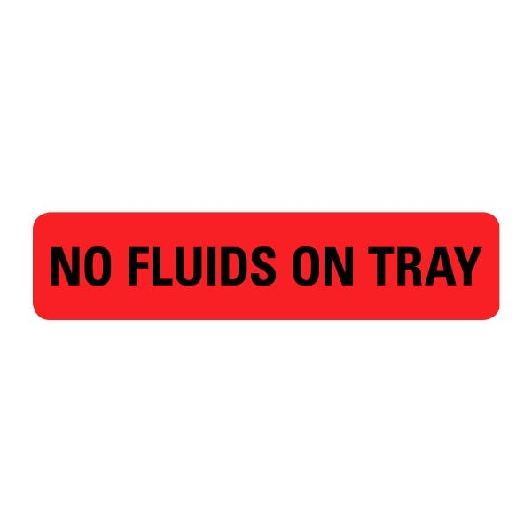 No Fluids On Tray Food Service Medical Labels