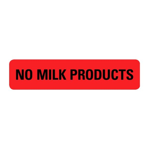 No Milk Products Food Service Medical Labels