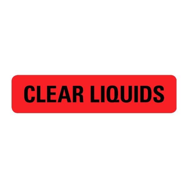 Clear Liquids Food Service Medical Labels