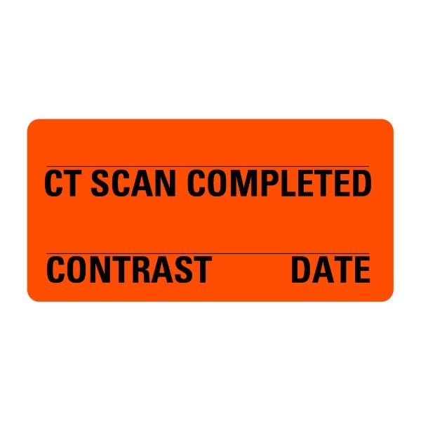 CT SCAN COMPLETED Contrast Date Medical Labels