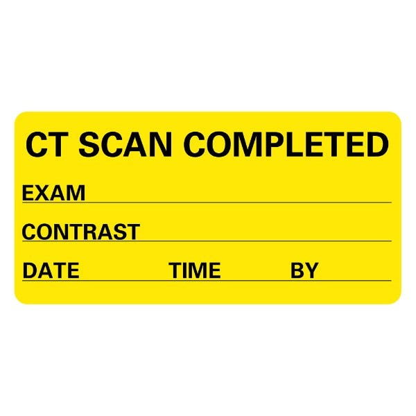 CT SCAN COMPLETED Exam Contrast Date Medical Labels