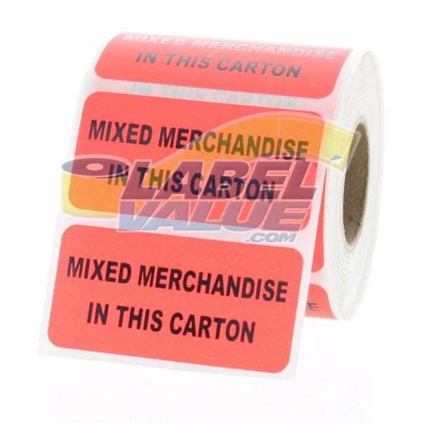 "MIXED MERCHANDISE IN THIS CARTON Inventory Labels 2"" x 1"""